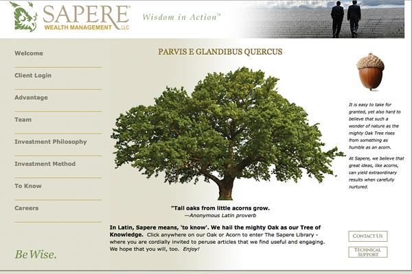Sapere Wealth Management Website Design Copywriting